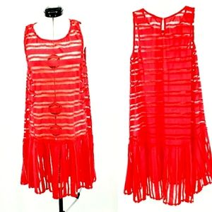 Weston by Anthropologie red lace tank dress